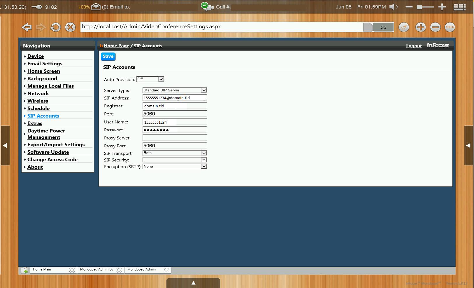 Infocus Mondopad Registered with CUCM – SIP – Packet Pilot